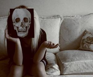 girl, skull, and cigarette image