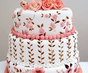 cake, pretty, and flowers image