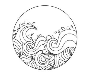 waves, art, and black and white image