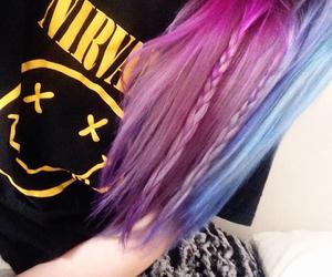 hair, band, and blue hair image