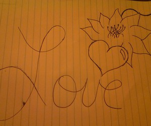 drawing, love, and flowers image