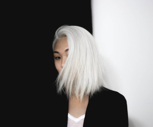 hair, white, and black and white image