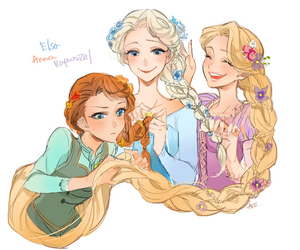 anna, elsa, and rapunzel image