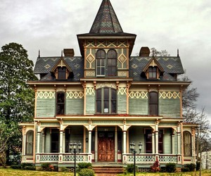 victorian house and vintage image