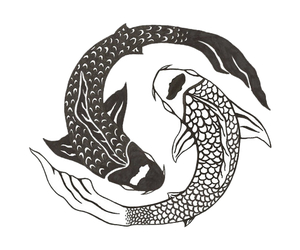 fish, art, and ying yang image