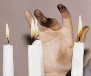 candle, fire, and hand image