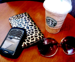 starbucks, blackberry, and sunglasses image