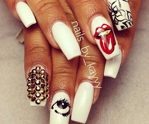 studs, nail art, and white image
