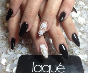 nails, black, and flower image