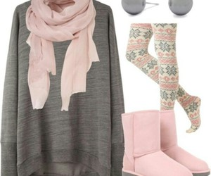 pink, outfit, and winter image