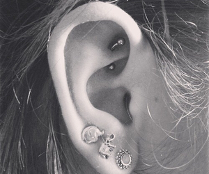 piercing, rook, and barbell image
