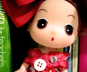 books, doll, and eyes image