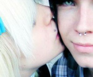 blonde, scene girl, and septum image