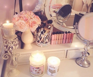 bedroom, makeup, and white image