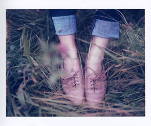 denim, grass, and leather image