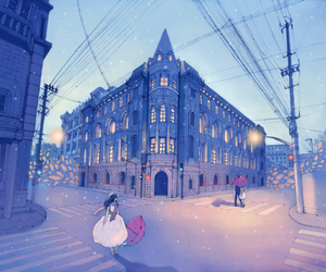 anime, scenery, and street image