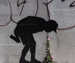 art, flowers, and graffiti image