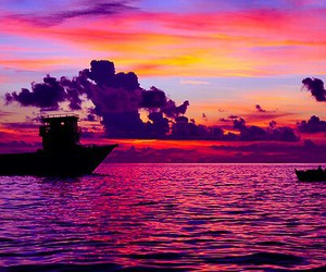 boat, sunset, and photography image
