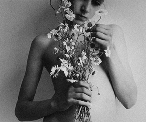 black and white, flowers, and vintage image