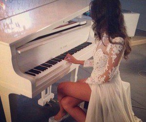 lace, white, and piano image