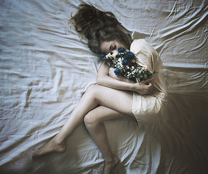 flowers, girl, and bed image