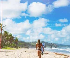 sun, surfer girl, and surfing image