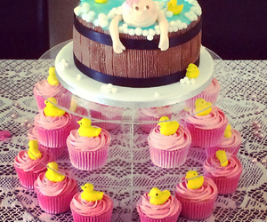 baby, cake, and cupcakes image