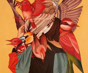 art, birds, and draw image