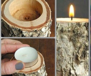 diy, candle, and wood image