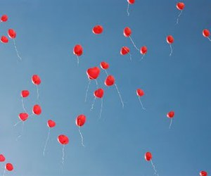 balloons, hearts, and red image