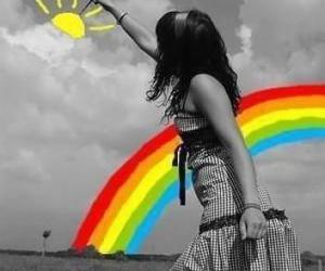 rainbow, sun, and black and white image