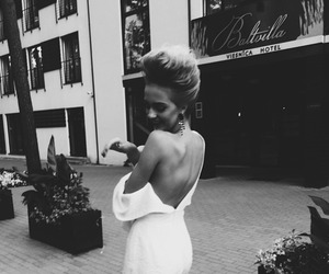 dress, black and white, and hair image