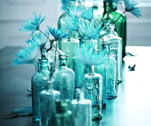 blue, flowers, and bottle image
