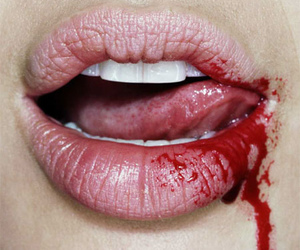 blood, lips, and mouth image