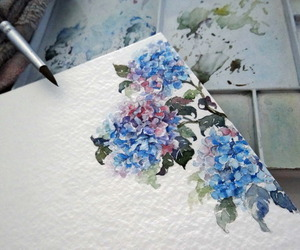 drawing, flowers, and hydrangea image