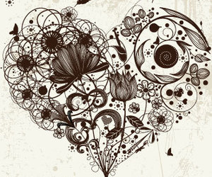 black and white, draw, and heart image