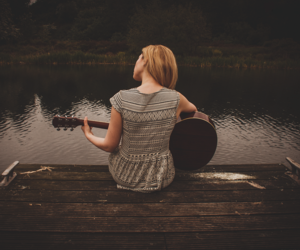 beauty, guitar, and love image