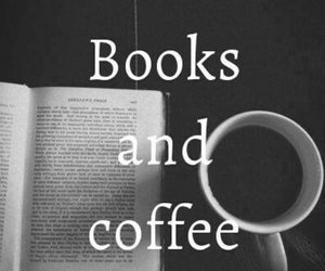book, coffee, and black and white image