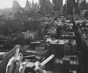 city, cigarette, and smoke image