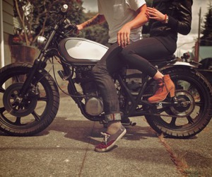 couple, boy, and motorcycle image