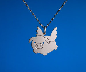 Flying, necklace, and pig image