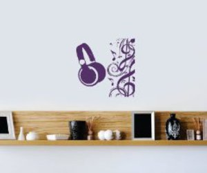 headphones, music, and wall decal image