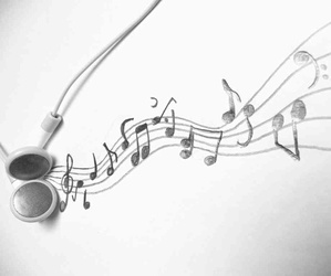 music, earphones, and notes image