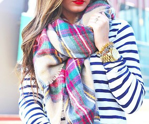 plaid, scarf, and stripes image