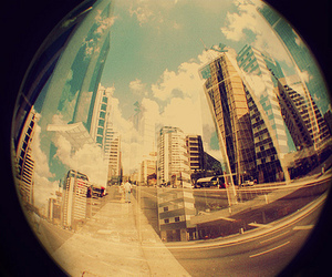 city, photography, and fisheye image