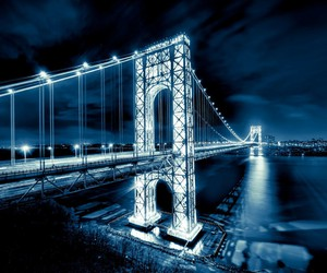 lights, bridge, and night image