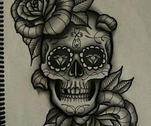skull, rose, and tattoo image