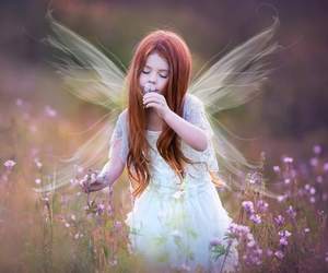 child, fairy, and flowers image
