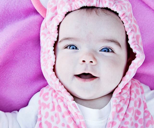 baby, blue eyes, and pink image