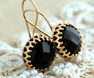 black and gold, diamonds, and earrings image